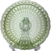 Jeannette Windsor Green Depression Glass Torte Chop Plate Vintage 1930s