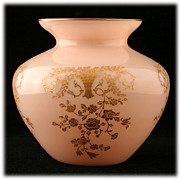 SOLD Cambridge Crown Tuscan Portia Vase Etched with Gold Inlay Elegant Glass Pink