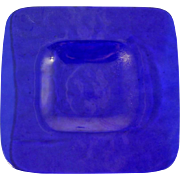 Mesolini Cobalt Blue Art Glass Small Plate Square hand Made Washington State