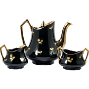 Gibson Staffordshire Pottery Teapot with Creamer and Sugar Bowl Black and Gold.