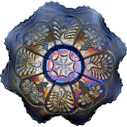 Fenton Peacock and Grape Carnival Glass Bowl Cobalt Blue Antique 1911 Art Glass