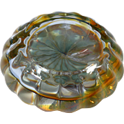 Studio Art Glass Paperweight Scalloped Yellow crystal Hand Blown