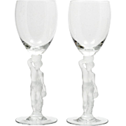 Bayel Bacchante Crystal Wine Glasses Pair Frosted Nude Stem French Vintage