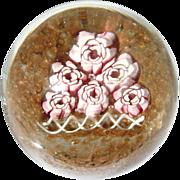 Fratelli Toso Rose Garden Paperweight Murano Art Glass Vintage 1960s Aventurine