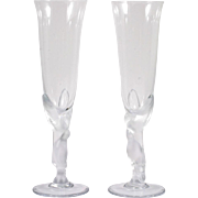 SOLD Faberge Kissing Dove Champagne Flutes Crystal Art Glass