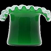 SOLD Fenton Top Hat Vase Ivy Green Overlay Art Glass Vintage 1940s Crimped