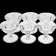 Heisey Colonial Optic Sherbet Glasses Vintage Crystal Stem 359 Set of 6 Antique Crystal