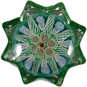SOLD Strathearn Millefiori Art Glass Paperweight Scottish P12 Vintage Green