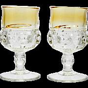 Tiffin Kings Crown Yellow Water Goblets Pair Vintage Elegant Glass Amber