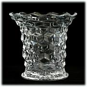 SOLD Fostoria American Flared Vase Vintage Elegant Glass Cube Crystal