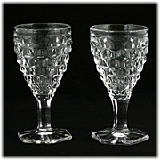 Fostoria American Hex Footed Wine Glasses 2 Pair Vintage Elegant Glass