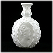 Fostoria Jenny Lind Milk Glass Decanter Cameo Ladies Face Vintage 1950s