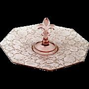 Fostoria Orchid Paradise Brocade Platter 1920s Elegant Glass Center Handled Server Tray Vintag