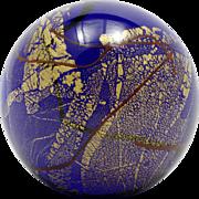 Glass Eye Studio GES Midnight Gold Paperweight Cobalt Blue Marble