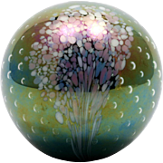 GES Glass Eye Studio Round Paperweight MSH Ash Plume, Controlled Bubbles Signed