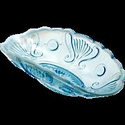 Antique Blue Opalescent Glass Bowl Jewel and Fan Jefferson Glass Co