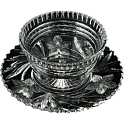 Libbey Signed American Brilliant Cut Glass One Piece Mayonnaise Bowl Flowers