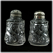 S-Repeat National Glass Shakers EAPG Antique Glass 1903 Salt and Pepper Set