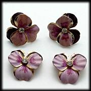 Vintage Pansy Earrings and Scatter Pin Set Purple and Pink with Rhinestone.