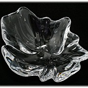 SOLD Royal Copenhagen Natura Lead Crystal Bowl Freeform Art Glass Leaf Flower
