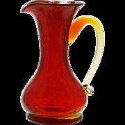 Ruby Crackle Art Glass Pitcher Miniature Hand Blown Mid Century Modern