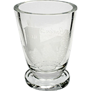 Antique Swedish Souvenir Glass Vase Tumbler Boden Kyrkan Engraved