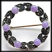 Sterling Silver Marcasite Circle Pin with Purple Jade Beads