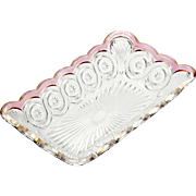 EAPG Ruby Stain Star in Bullseye Rectangular Dish Antique 1905 US Glass