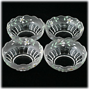 EAPG Frosted Enameled Bowls Flowers Antique Satin Glass Nappys Candy Dish Set 4