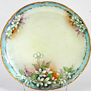 Haviland Limoges Hand Painted Plate White Flowers Berries Blue Rim Gold Trim