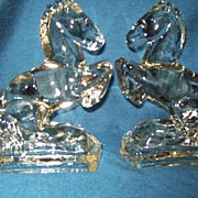 Glass L E Smith Bookends Rearing Horses