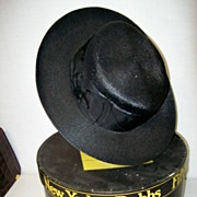 1889 Black Straw Hat Excellent