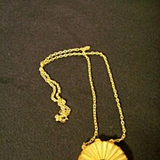 Estee Lauder Perfume Compact Necklace Goldtone