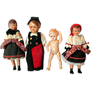 Four Doll House Size Dolls Most in Native Costumes