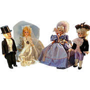 "Bride and Groom and Martha and George 7"" Dolls"