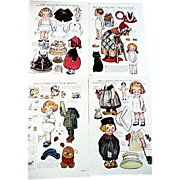 Four Dolly Dingle Paper Dolls Uncut