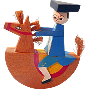 Small Wooden Rocking Horse with Paul Revere Rider
