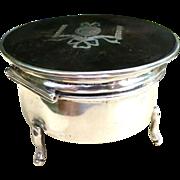Antique Edwardian Sterling Silver & Tortoise Shell Casket, Jewelry Box