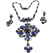 Antique Austro Hungarian Gilt Silver Fresh Water Pearl And Sapphire Paste Filigree Necklace c