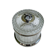 Etched And Cut Crystal And Sterling Silver Honey Jar