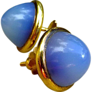 SOLD Lovely Pair OF Early Art Deco 18K Gold Chalcedony Earrings
