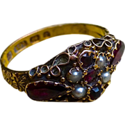 SOLD Late Georgian/Early Victorian Garnet And Seed Pearl Ring - 15 Carat Rose Gold