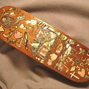 C.WWI Danish Clothes or Shoe Brush, Profuse Folk Art Abalone Inlays