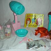 Vintage Mod Era Barbie Doll Color Magic Beauty Shop Items and Wigs.