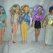 Vintage Set of Jem, Rio, Aja, Raja and video Dolls by Hasbro 1980s