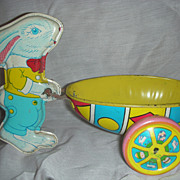 Vintage Chein Tin Toy Easter Bunny pushing Easter Egg Cart