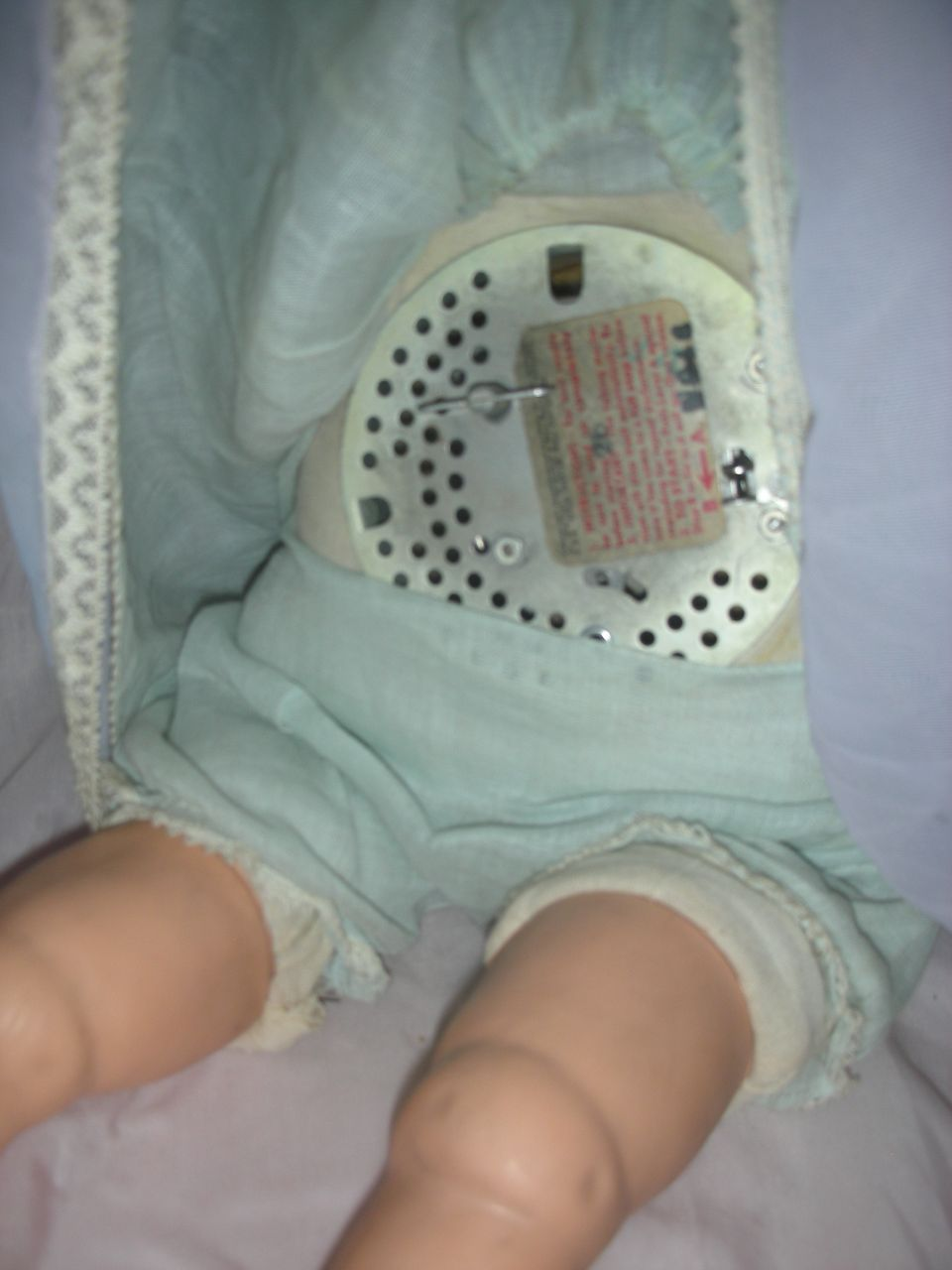 Vintage Talking Mechanical Baby Schilling Doll Molded Hair