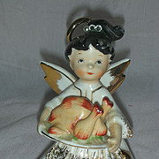Vintage Rare Lefton November Birthday Angel Rhinestone Figurine