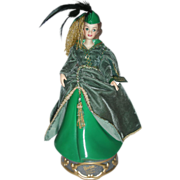 Enesco Barbie as Scarlett Porcelain Doll Music Box