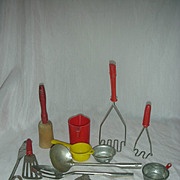 Vintage Child or Doll Size Toy Cooking Items Potato Masher Eggbeater Ladle cups